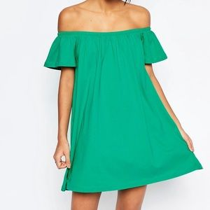 ASOS green off shoulder dress